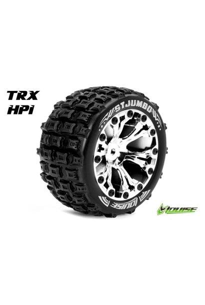 Louise RC - ST-JUMBO - 1-10 Stadium Truck Tire Set - Mounted - Sport - Chrome 2.8 Rims - 1/2-Offset - Hex 12mm - L-T3210SCH