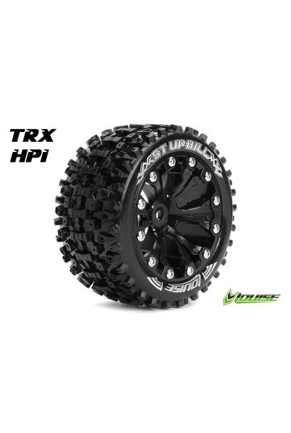 Louise RC - ST-UPHILL - 1-10 Stadium Truck Tire Set - Mounted - Sport - Black 2.8 Rims - 1/2-Offset - Hex 12mm - L-T3211SBH