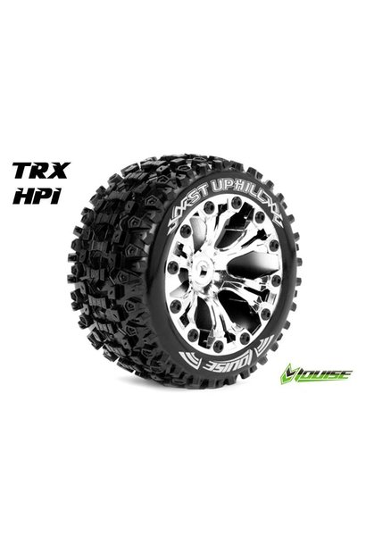 Louise RC - ST-UPHILL - 1-10 Stadium Truck Tire Set - Mounted - Sport - Chrome 2.8 Rims - 1/2-Offset - Hex 12mm - L-T3211SCH