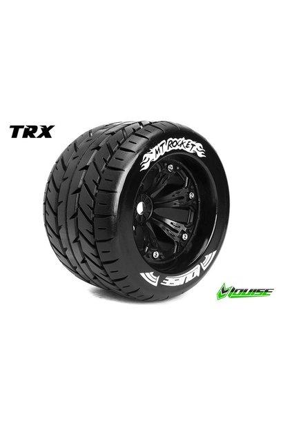 Louise RC - MT-ROCKET - 1-8 Monster Truck Tire Set - Mounted - Sport - Black 3.8 Rims - 1/2-Offset  - Hex 17mm - L-T3217BH