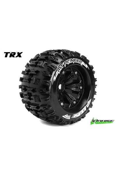 Louise RC - MT-PIONEER - 1-8 Monster Truck Tire Set - Mounted - Sport - Black 3.8 Rims - 1/2-Offset - Hex 17mm - L-T3218BH
