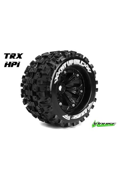 Louise RC - MT-UPHILL - 1-8 Monster Truck Tire Set - Mounted - Sport - Black 3.8 Rims - 1/2-Offset - Hex 17mm - L-T3219BH