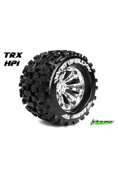 Louise RC - MT-UPHILL - 1-8 Monster Truck Tire Set - Mounted - Sport - Chrome 3.8 Rims - 1/2-Offset - Hex 17mm - L-T3219CH