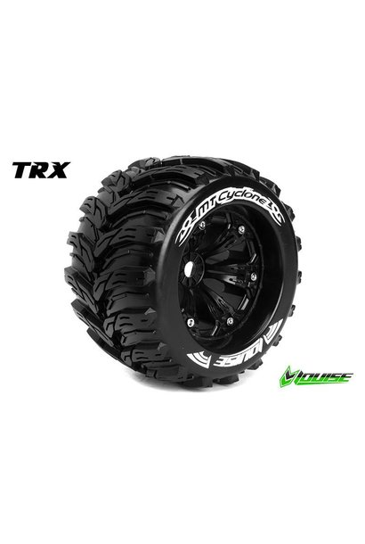 Louise RC - MT-CYCLONE - 1-8 Monster Truck Tire Set - Mounted - Sport - Black 3.8 Rims - 1/2-Offset - Hex 17mm - L-T3220BH