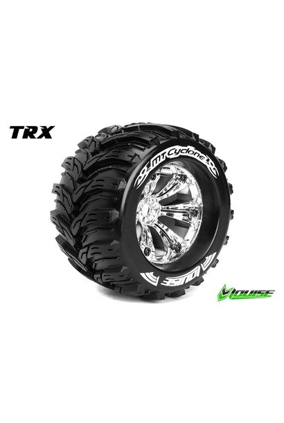 Louise RC - MT-CYCLONE - 1-8 Monster Truck Tire Set - Mounted - Sport - Chrome 3.8 Rims - 1/2-Offset  - Hex 17mm - L-T3220CH