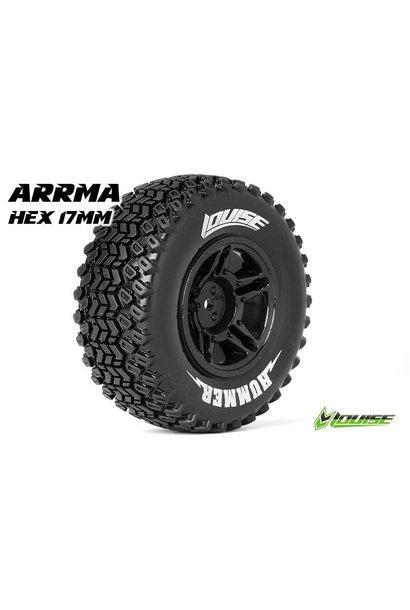 Louise RC - SC-HUMMER - 1-10 Short Course Tire Set - Mounted - Soft  - Black Rims - Hex 17mm - L-T3224SBM