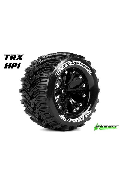 Louise RC - MT-CYCLONE - 1-10 Monster Truck Tire Set - Mounted - Soft - Black 2.8 Rims - 1/2-Offset - Hex 12mm - L-T3226SBH