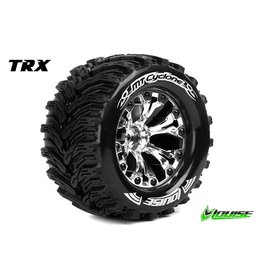 Louise RC Louise RC - MT-CYCLONE - 1-10 Monster Truck Tire Set - Mounted - Soft - Chrome 2.8 Rims - Hex 12mm - L-T3226SC