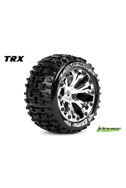 Louise RC - ST-PIONEER - 1-10 Stadium Truck Tire Set - Mounted - Soft - Chrome 2.8 Rims - 1/2-Offset - Hex 12mm - L-T3227SCH