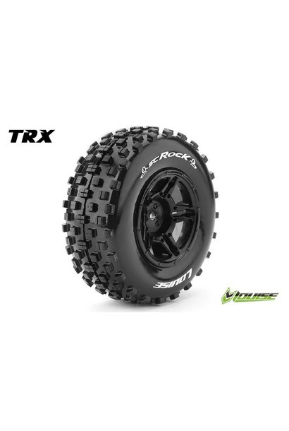 Louise RC - SC-ROCK - 1-10 Short Course Tire Set - Mounted - Soft - Black Rims - Hex 12mm - SLASH 2WD - Front - L-T3229SBTF