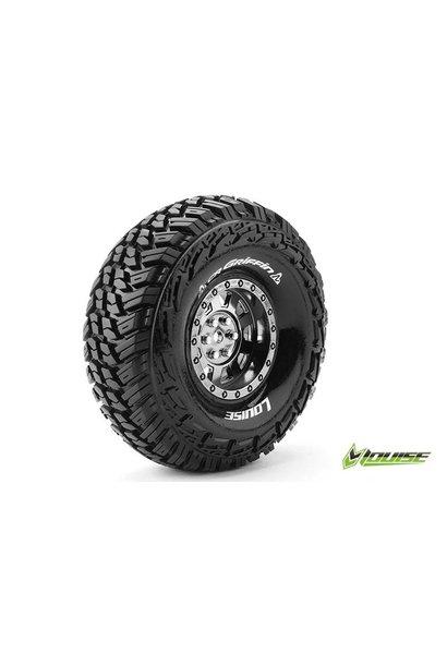 Louise RC - CR-GRIFFIN - 1-10 Crawler Tire Set - Mounted - Super Soft - Black Chrome 1.9 Rims - Hex 12mm - L-T3230VBC