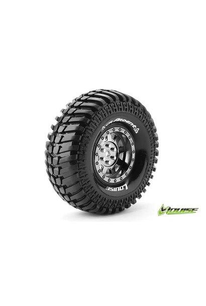 Louise RC - CR-ARDENT - 1-10 Crawler Tire Set - Mounted - Super Soft - Black Chrome 1.9 Rims - Hex 12mm - L-T3232VBC