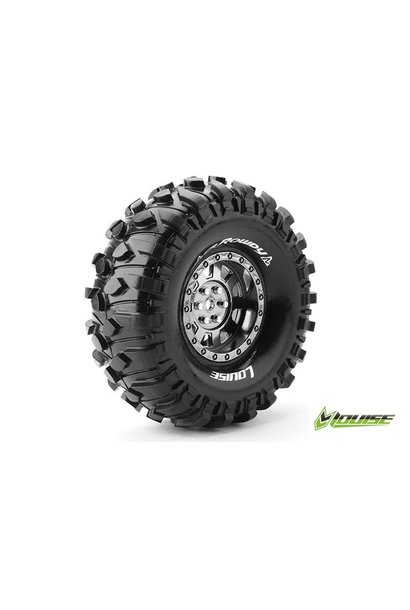 Louise RC - CR-ROWDY - 1-10 Crawler Tire Set - Mounted - Super Soft - Black Chrome 1.9 Rims - Hex 12mm - L-T3233VBC