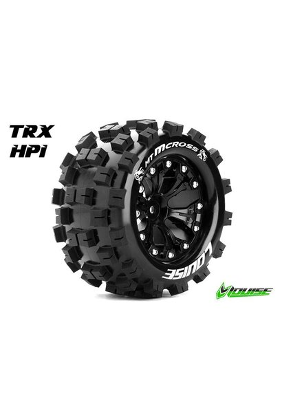 Louise RC - MT-MCROSS - 1-10 Monster Truck Tire Set - Mounted - Sport - Black 2.8 Rims - 1/2-Offset - Hex 12mm - L-T3274SBH