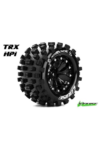 Louise RC - MT-ROCK - 1-10 Monster Truck Tire Set - Mounted - Sport - Black 2.8 Rims - 1/2-Offset - Hex 12mm - L-T3275SBH