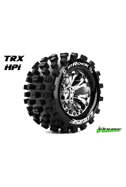 Louise RC - MT-ROCK - 1-10 Monster Truck Tire Set - Mounted - Sport - Chrome 2.8 Rims - 1/2-Offset - Hex 12mm - L-T3275SCH