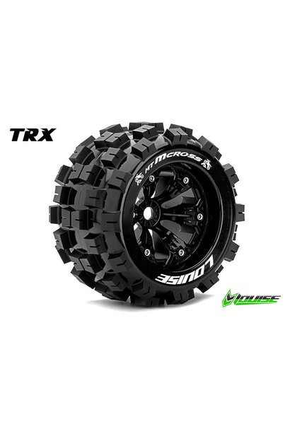 Louise RC - MT-MCROSS - 1-8 Monster Truck Tire Set - Mounted - Sport - Black 3.8 Rims - 1/2-Offset - Hex 17mm - L-T3276BH