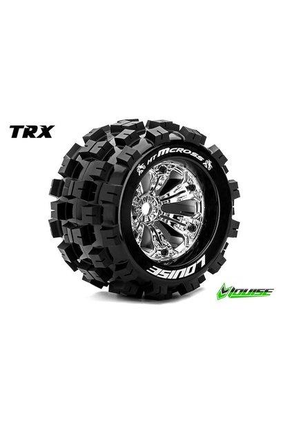 Louise RC - MT-MCROSS - 1-8 Monster Truck Tire Set - Mounted - Sport - Chrome 3.8 Rims - 1/2-Offset - Hex 17mm - L-T3276CH