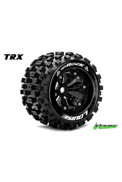 Louise RC - MT-ROCK - 1-8 Monster Truck Tire Set - Mounted - Sport - Black 3.8 Rims - 1/2-Offset - Hex 17mm - L-T3277BH