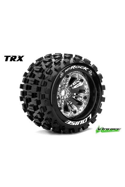 Louise RC - MT-ROCK - 1-8 Monster Truck Tire Set - Mounted - Sport - Chrome 3.8 Rims - 1/2-Offset - Hex 17mm - L-T3277CH