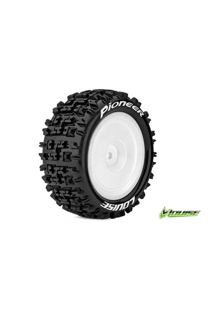 Louise RC - E-PIONEER - 1-10 Buggy Tire Set - Mounted - Soft - White Rims - Hex 12mm - Rear - L-T3278SWKR