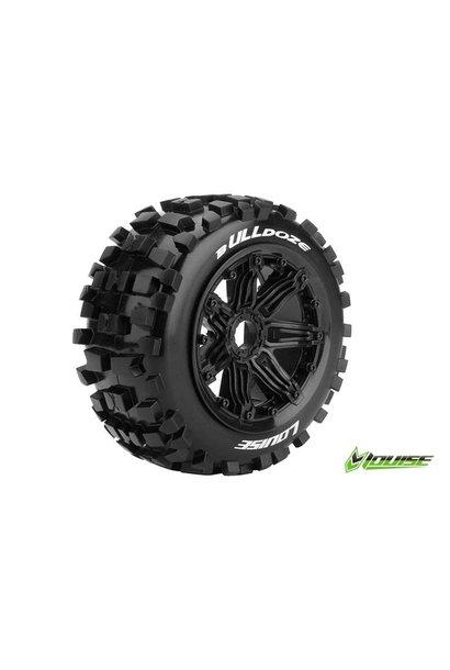 Louise RC - B-ULLDOZE -  1-5 Buggy Tire Set - Mounted - Sport - Black Rims - Hex 24mm - Rear - L-T3244B