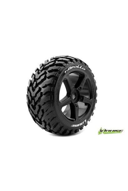 Louise RC - T-APOLLO - 1-8 Truggy Tire Set - Mounted - Soft - Black Spoke Rims - 0-Offset - Hex 17mm - L-T3252SB