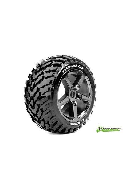 Louise RC - T-APOLLO - 1-8 Truggy Tire Set - Mounted - Soft - Black-Chrome Spoke Rims - 0-Offset - Hex 17mm - L-T3252SBC