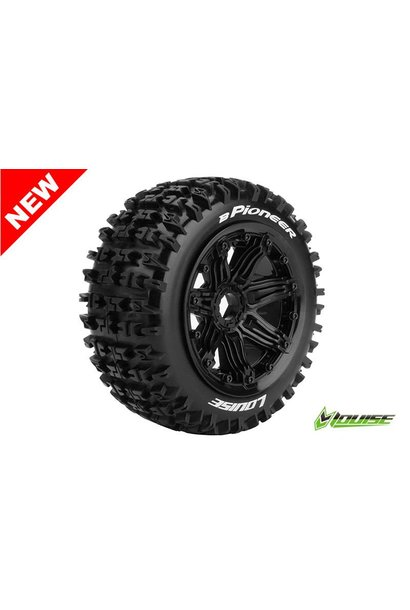 Louise RC - B-PIONEER -  1-5 Buggy Tire Set - Mounted - Sport - Black Rims - Hex 24mm - Front - L-T3267B