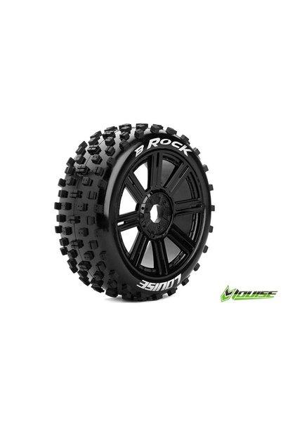 Louise RC - B-ROCK - 1-8 Buggy Tire Set - Mounted - Soft - Black Spoke Rims - Hex 17mm - L-T3270SB