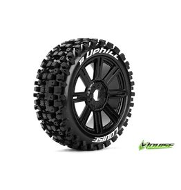 Louise RC Louise RC - B-UPHILL - 1-8 Buggy Tire Set - Mounted - Soft - Black Spoke Rims - Hex 17mm - L-T3271SB