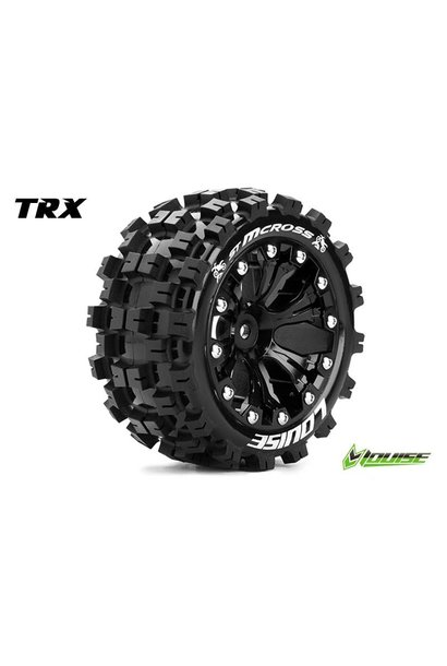 Louise RC - ST-MCROSS - 1-10 Stadium Truck Tire Set - Mounted - Sport - Black 2.8 Rims - 0-Offset - Hex 12mm - L-T3272SB
