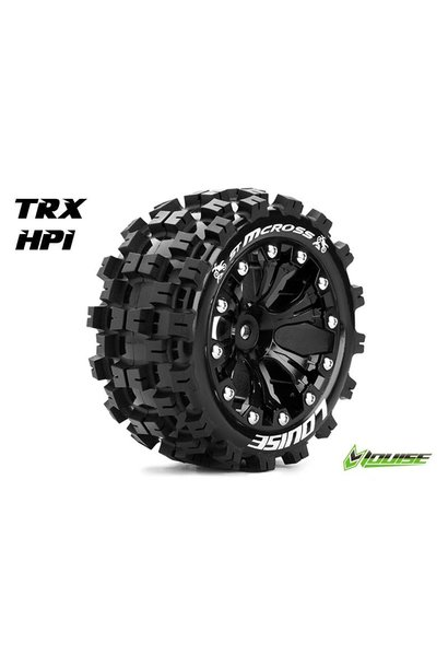 Louise RC - ST-MCROSS - 1-10 Stadium Truck Tire Set - Mounted - Sport - Black 2.8 Rims - 1/2-Offset - Hex 12mm - L-T3272SBH
