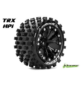 Louise RC Louise RC - ST-ROCK - 1-10 Stadium Truck Tire Set - Mounted - Sport - Black 2.8 Rims - 1/2-Offset - Hex 12mm - L-T3273SBH