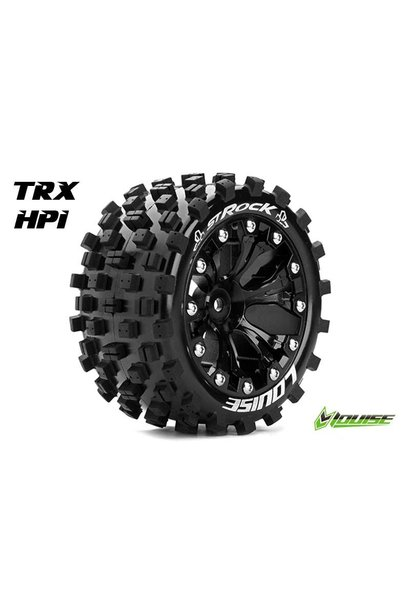 Louise RC - ST-ROCK - 1-10 Stadium Truck Tire Set - Mounted - Sport - Black 2.8 Rims - 1/2-Offset - Hex 12mm - L-T3273SBH