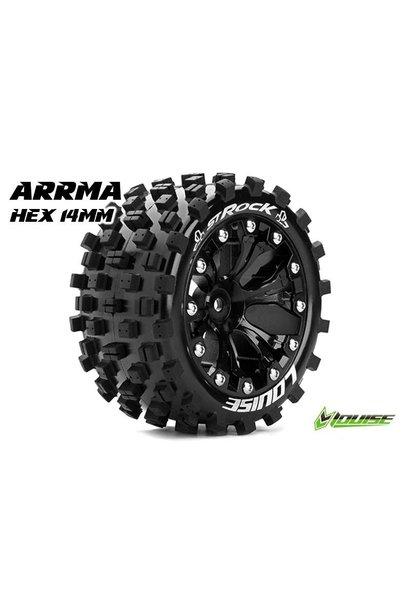 Louise RC - ST-ROCK - 1-10 Stadium Truck Tire Set - Mounted - Sport - Black 2.8 Rims - Hex 14mm - L-T3273SBM