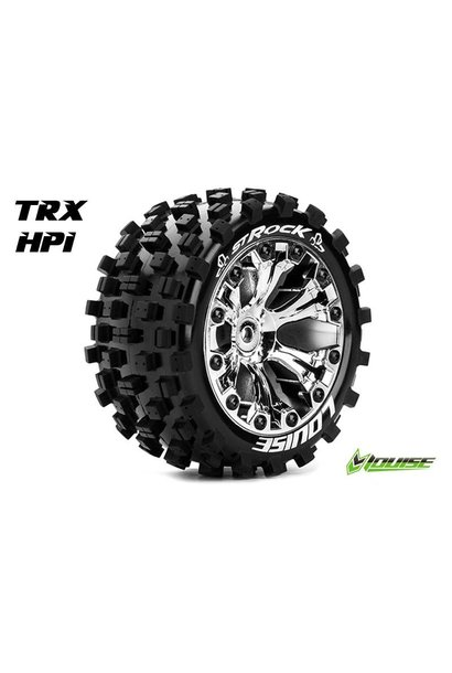 Louise RC - ST-ROCK - 1-10 Stadium Truck Tire Set - Mounted - Sport - Chrome 2.8 Rims - 1/2-Offset - Hex 12mm - L-T3273SCH