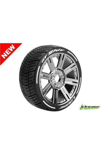Louise RC - MFT - GT-SHIV - 1-8 Buggy Tire Set - Mounted - Soft  - Black Chrome Spoke Rims - Hex 17mm - L-T3284SBC