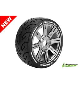 Louise RC Louise RC - MFT - GT-TARMAC - 1-8 Buggy Tire Set - Mounted - Soft  - Black Chrome Spoke Rims - Hex 17mm - L-T3285SBC