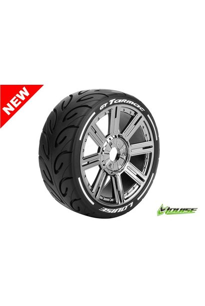 Louise RC - MFT - GT-TARMAC - 1-8 Buggy Tire Set - Mounted - Soft  - Black Chrome Spoke Rims - Hex 17mm - L-T3285SBC