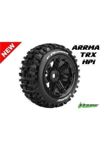 Louise RC - ST-PIONEER - 1-8 Stadium Truck Tire Set - Sport - Black 3.8 Bead-lock rims - Hex 17mm - L-T3287B