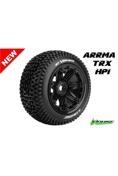 Louise RC - ST-VIPER - 1-8 Stadium Truck Tire Set - Sport - Black 3.8 Bead-lock rims - Hex 17mm - L-T3289B