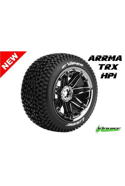 Louise RC - ST-VIPER- 1-8 Stadium Truck Tire Set - Sport - Black Chrome 3.8 Bead-lock rims - Hex 17mm - L-T3289BC