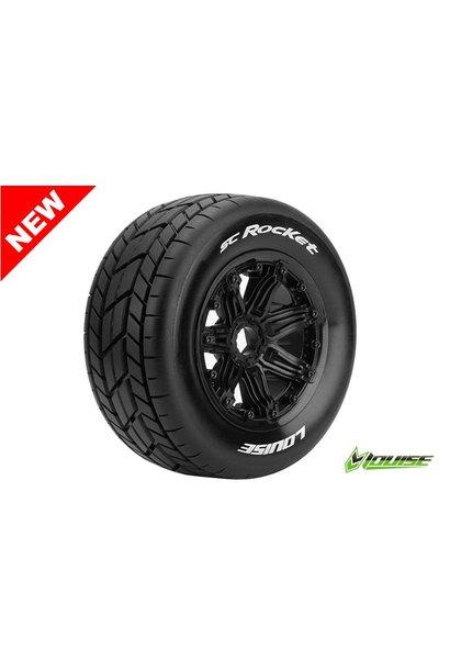 Louise RC - SC-ROCKET - 1-5 Short Course Truck Tire Set - Mounted - Sport - Black Rims - Hex 24mm - Rear - L-T3291B