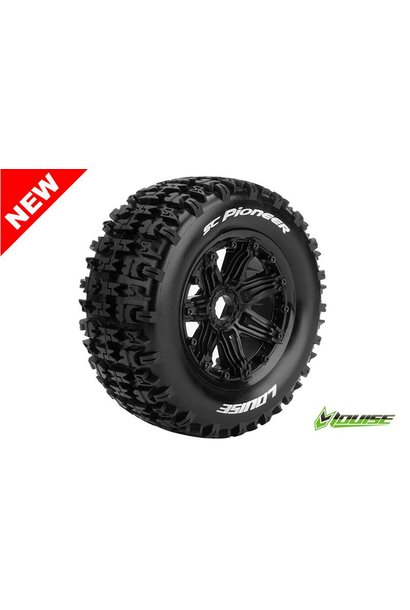 Louise RC - SC-PIONEER - 1-5 Short Course Truck Tire Set - Mounted - Sport - Black Rims - Hex 24mm - Rear - L-T3292B