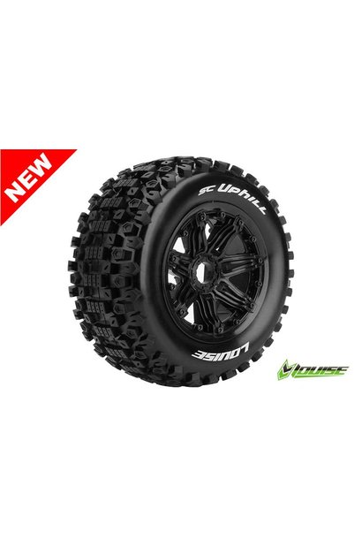 Louise RC - SC-UPHILL - 1-5 Short Course Truck Tire Set - Mounted - Sport - Black Rims - Hex 24mm - Rear - L-T3293B