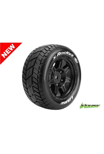 Louise RC - MFT - X-ROCKET - X-Maxx Serie Tire Set - Mounted - Sport - Black Rims - Hex 24mm - L-T3295B