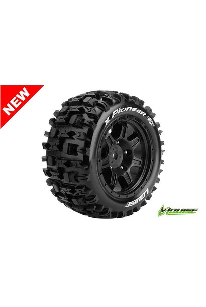 Louise RC - MFT - X-PIONEER - X-Maxx Serie Tire Set - Mounted - Sport - Black Rims - Hex 24mm - L-T3296B