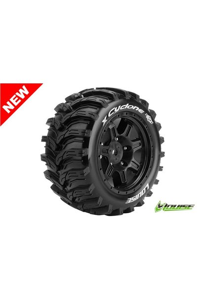 Louise RC - MFT - X-CYCLONE - X-Maxx Serie Tire Set - Mounted - Sport - Black Rims - Hex 24mm - L-T3298B