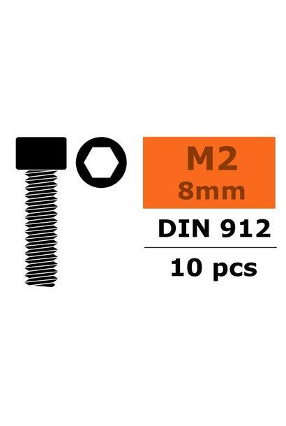 Revtec - Cilinderkopschroef - Binnenzeskant - M2X8 - Staal - 10 st